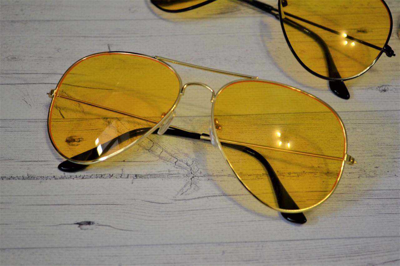 Солнцезащитные желтые очки авиаторы капли унисекс Золото