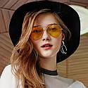 Солнцезащитные желтые очки авиаторы капли унисекс Золото, фото 6
