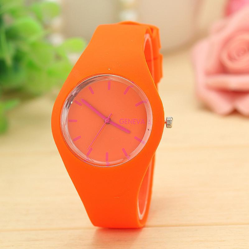 Силиконовые наручные часы Geneva, Оранжевый, Унисекс