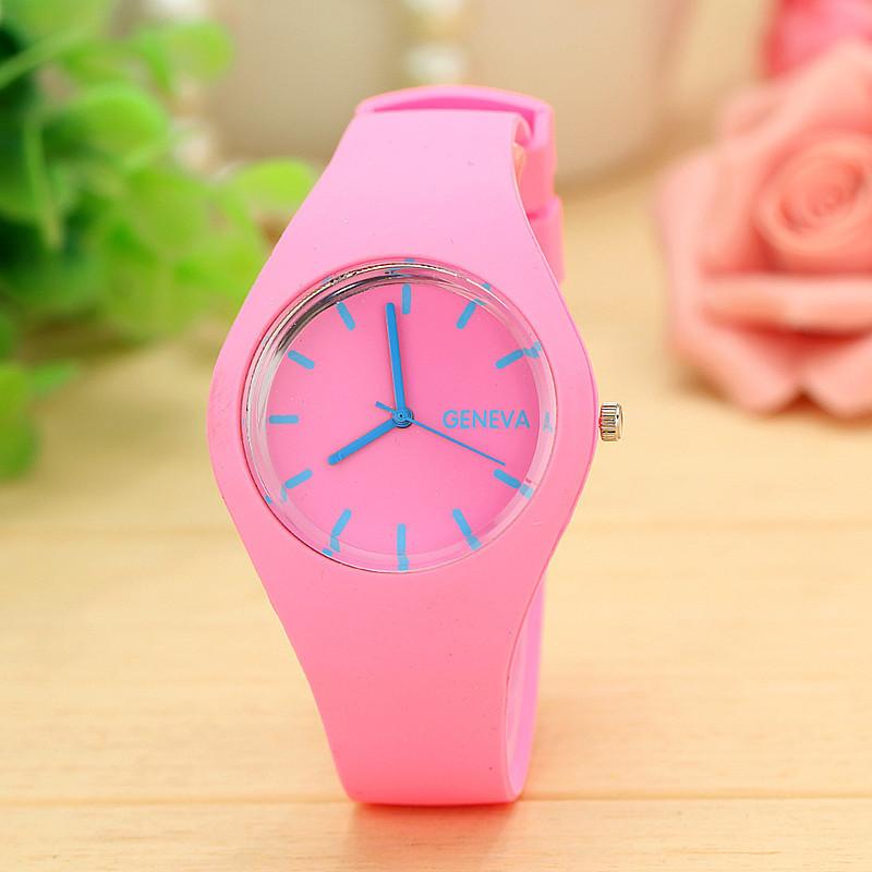 Силиконовые наручные часы Geneva, Розовый, Унисекс