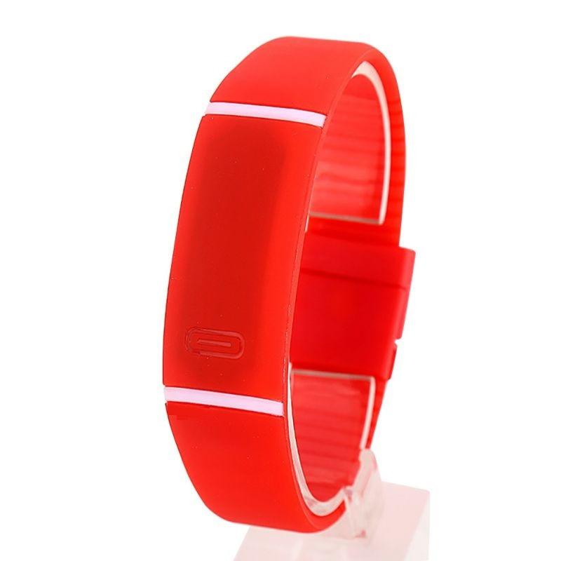 Спортивные силиконовые водонепроницаемые наручные LED часы - браслет 2 в 1, Красный, Унисекс
