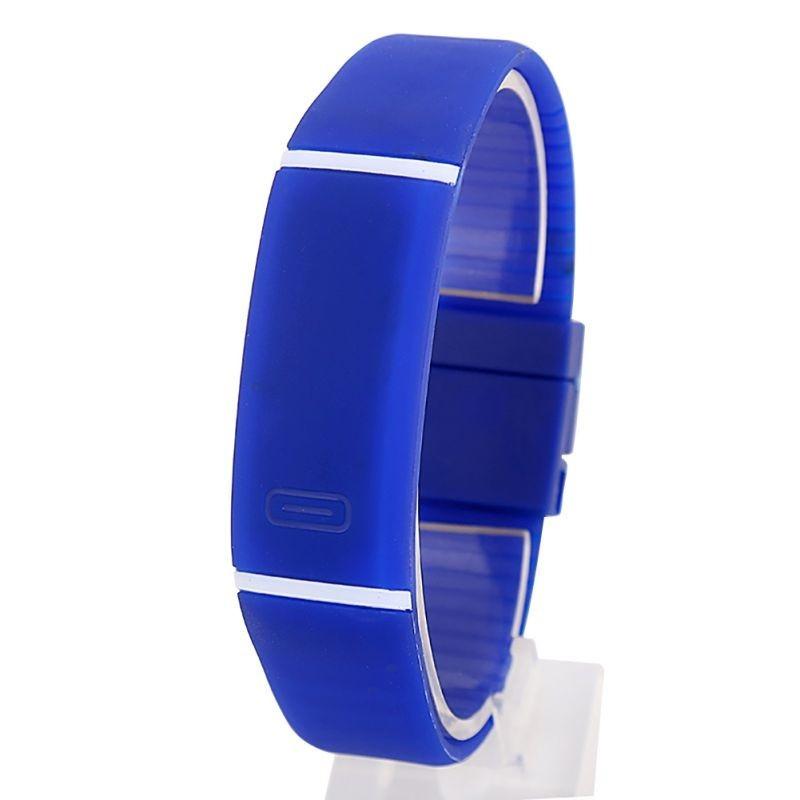 Спортивные силиконовые водонепроницаемые наручные LED часы - браслет 2 в 1, Синий, Унисекс