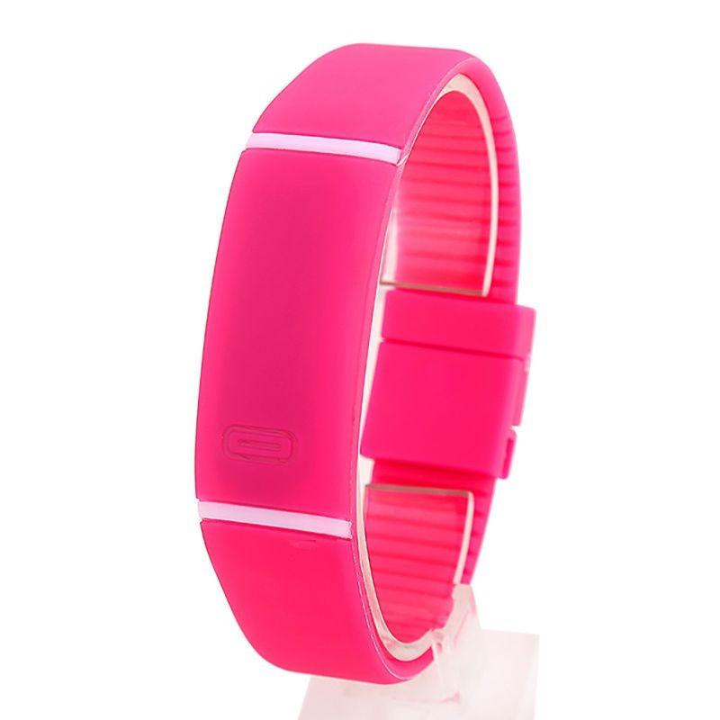 Спортивные силиконовые водонепроницаемые наручные LED часы - браслет 2 в 1, Розовый, Унисекс