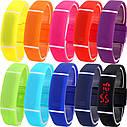 Спортивні силіконові водонепроникні наручний LED годинник - браслет 2 в 1, Рожевий, Унісекс, фото 3
