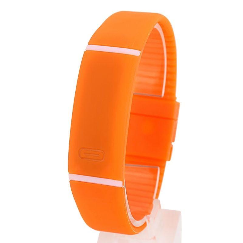 Спортивные силиконовые водонепроницаемые наручные LED часы - браслет 2 в 1, Оранжевый, Унисекс