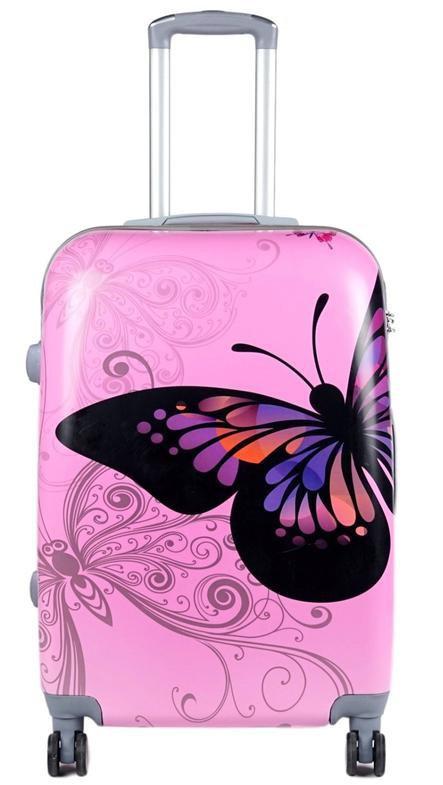 Дорожный чемодан 63л с рисунком Розовый с бабочкой