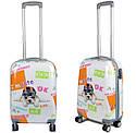 Дорожный чемодан 63л с рисунком Розовый с бабочкой, фото 5