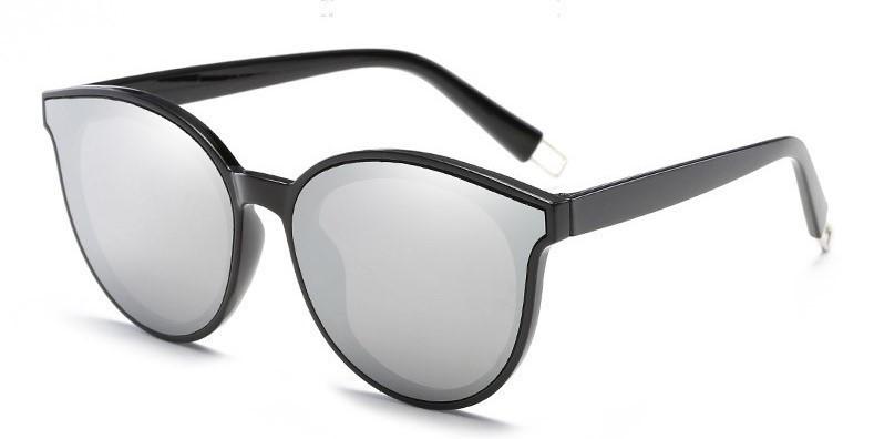 Стильные женские солнцезащитные очки  кошачий глаз Белый хром