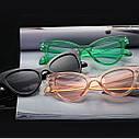 Стильные очки солнцезащитные  кошачий глаз Бежевый, фото 5