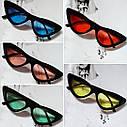 Треугольные очки солнцезащитные  кошачий глаз Чёрный+голубой, фото 8