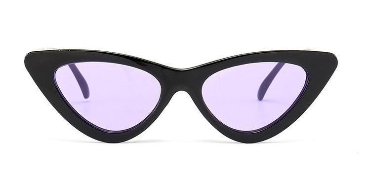 Треугольные очки солнцезащитные  кошачий глаз Чёрный+сиреневый