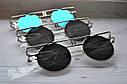 Солнцезащитные очки круглые тишейды с широкими дужками Белый хром, фото 3