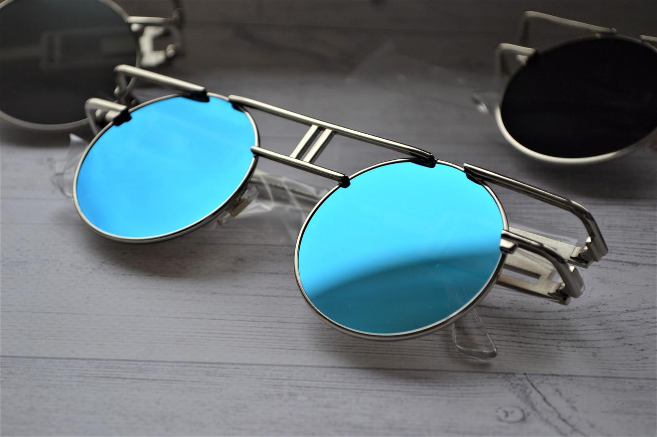Солнцезащитные очки круглые тишейды с широкими дужками Голубой
