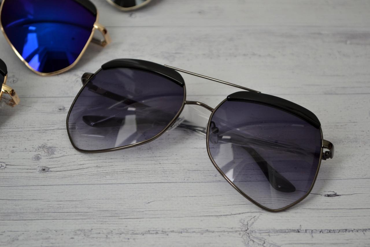 Очки солнцезащитные унисекс авиатор большие фигурные Серый