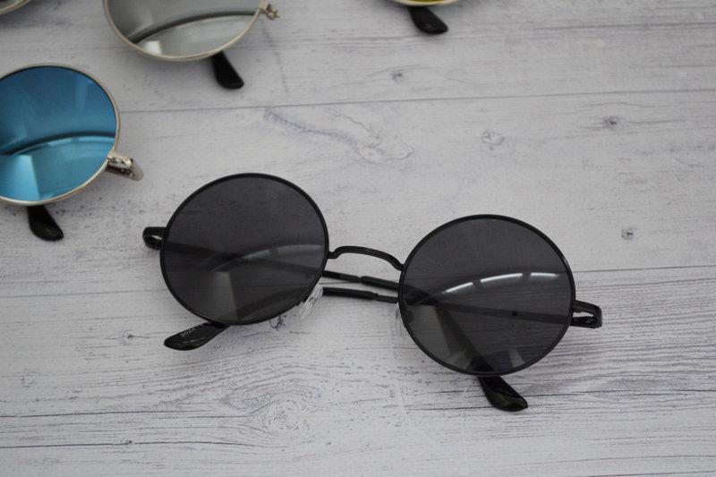 Солнцезащитные круглые  очки  тишейды  Чёрный в серебре