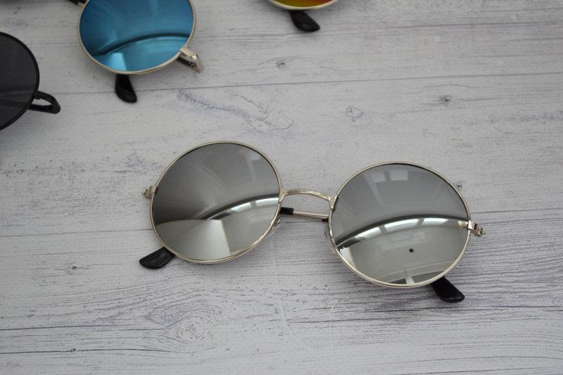 Солнцезащитные круглые  очки  тишейды  Серебро в серебре