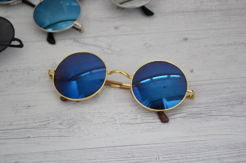 Солнцезащитные круглые  очки  тишейды  Синий в золоте