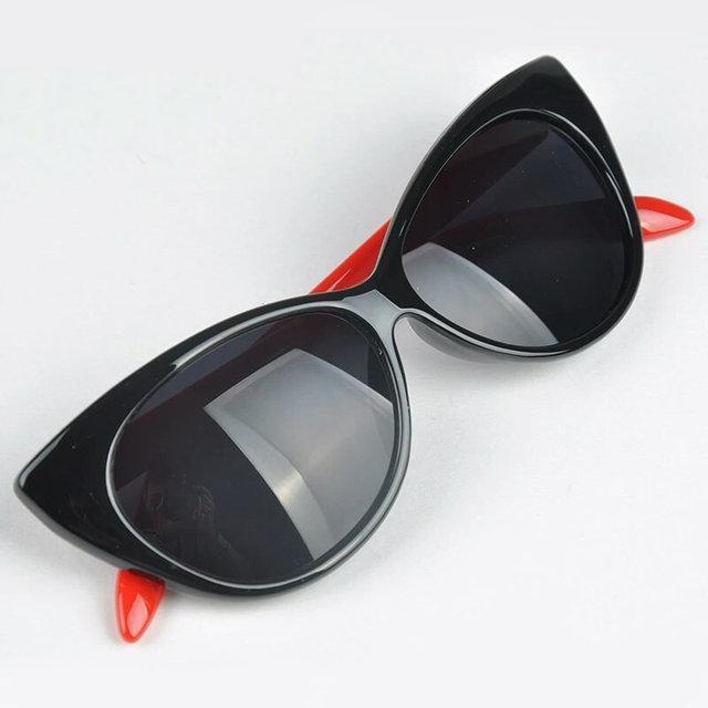 Очки солнцезащитные  кошка лисичка Чёрный+красный