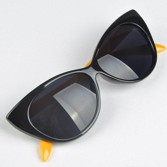 Очки солнцезащитные  кошка лисичка Чёрный+жёлтый