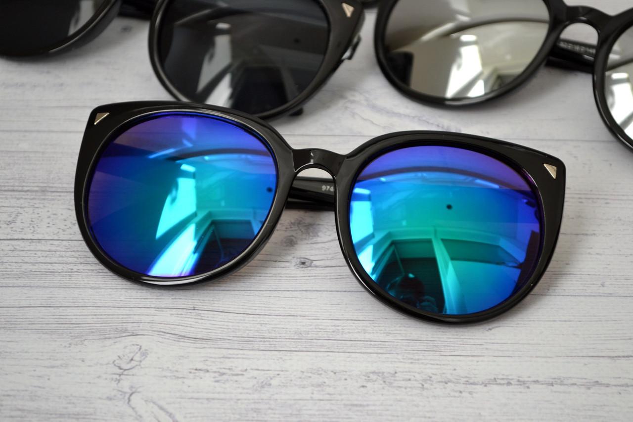 Солнцезащитные очки кошка женские зеркальные Синий