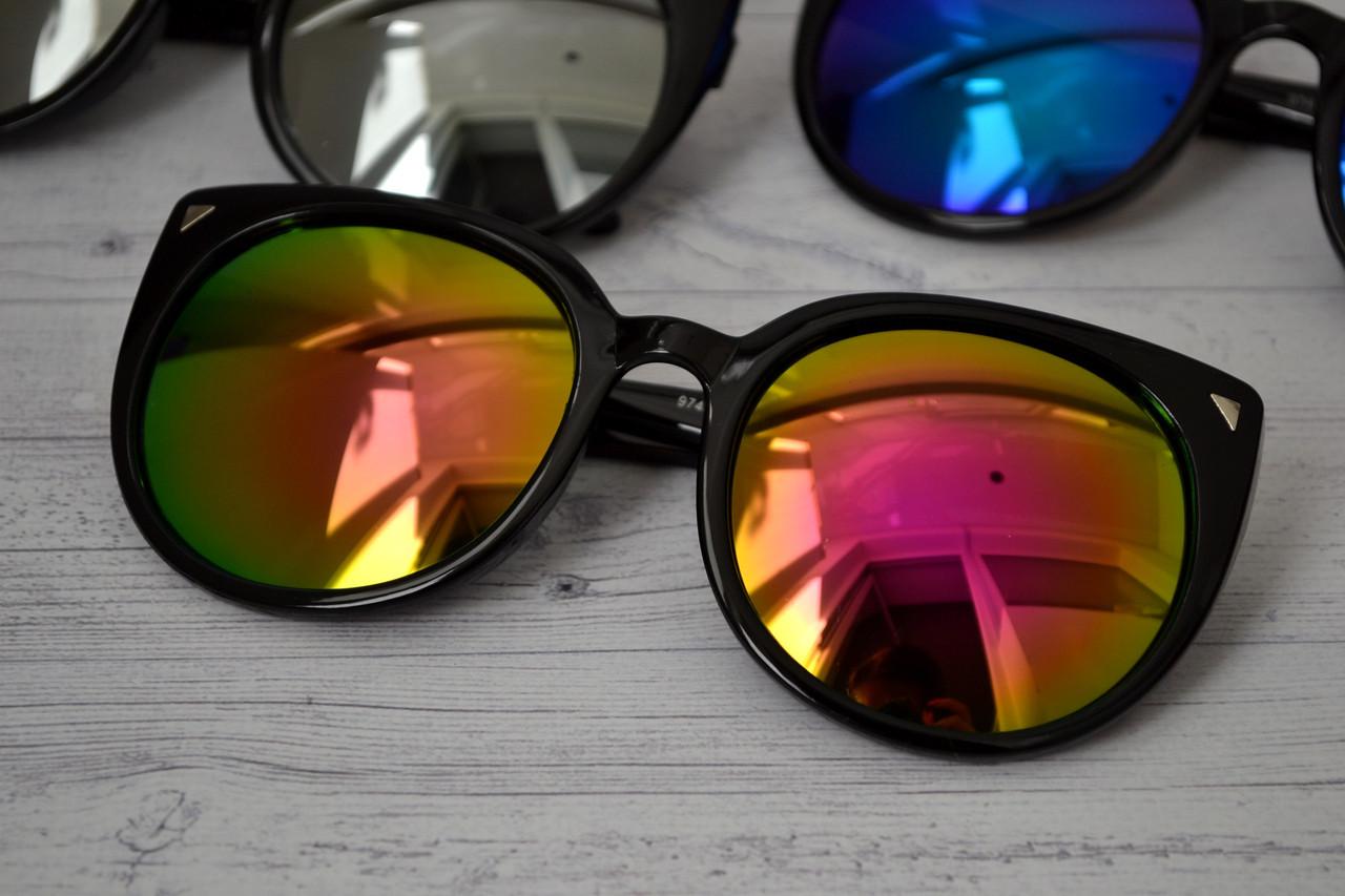 Солнцезащитные очки кошка женские зеркальные Розовый+жёлтый