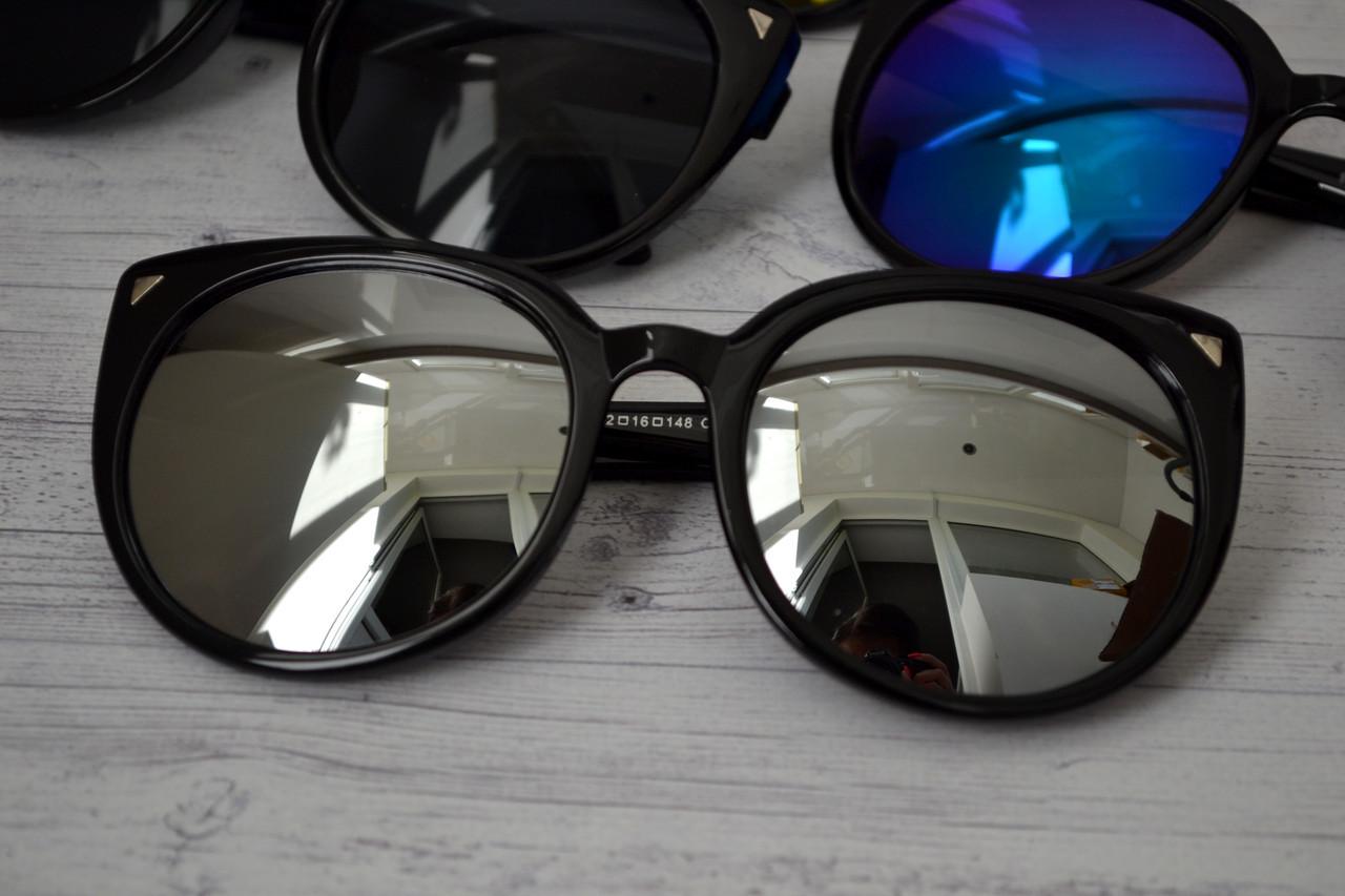 Солнцезащитные очки кошка женские зеркальные Белый хром