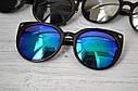 Солнцезащитные очки кошка женские зеркальные Белый хром, фото 3
