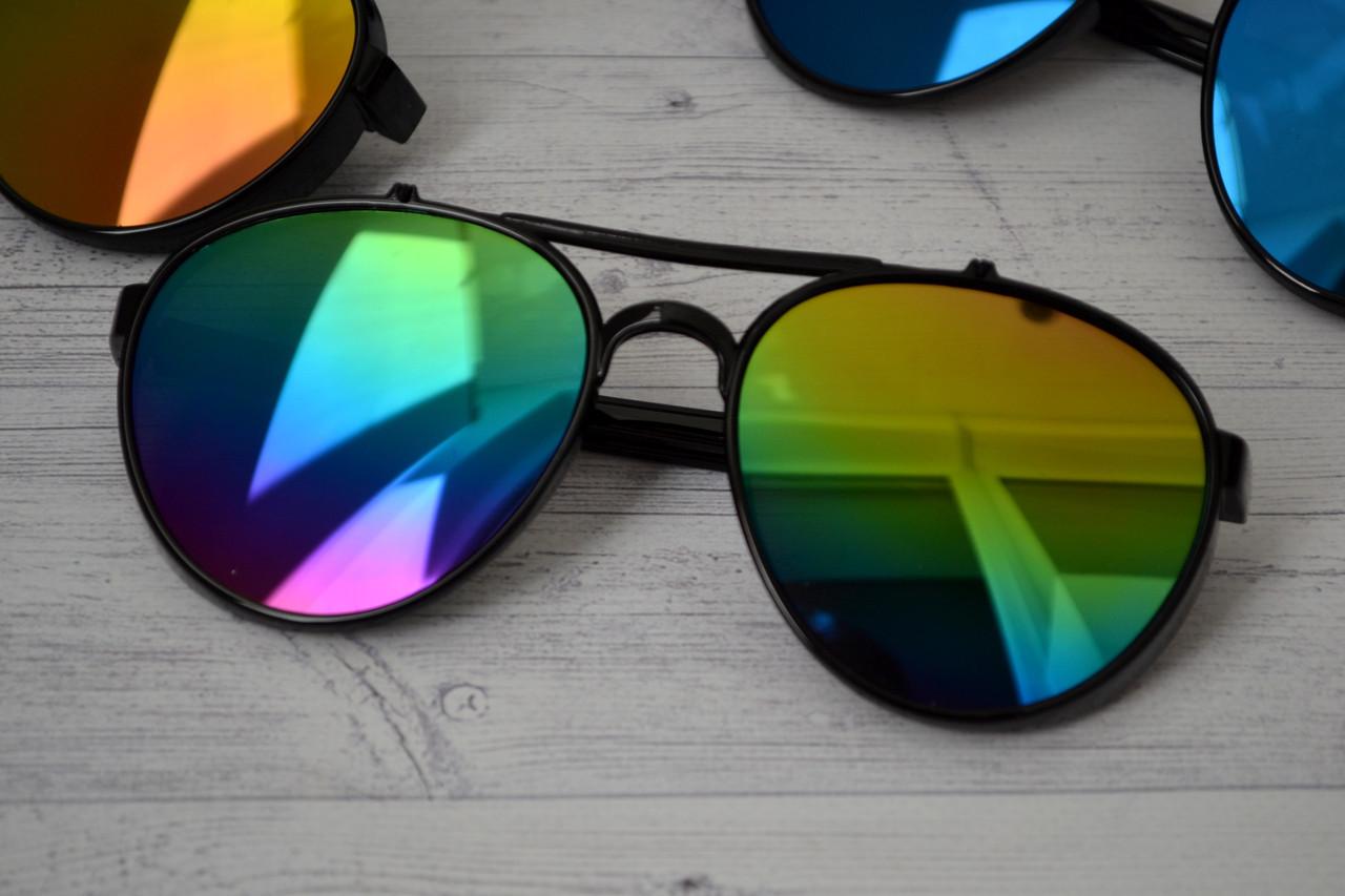 Солнцезащитные очки авиаторы капли унисекс в широкой оправе Мультиколор