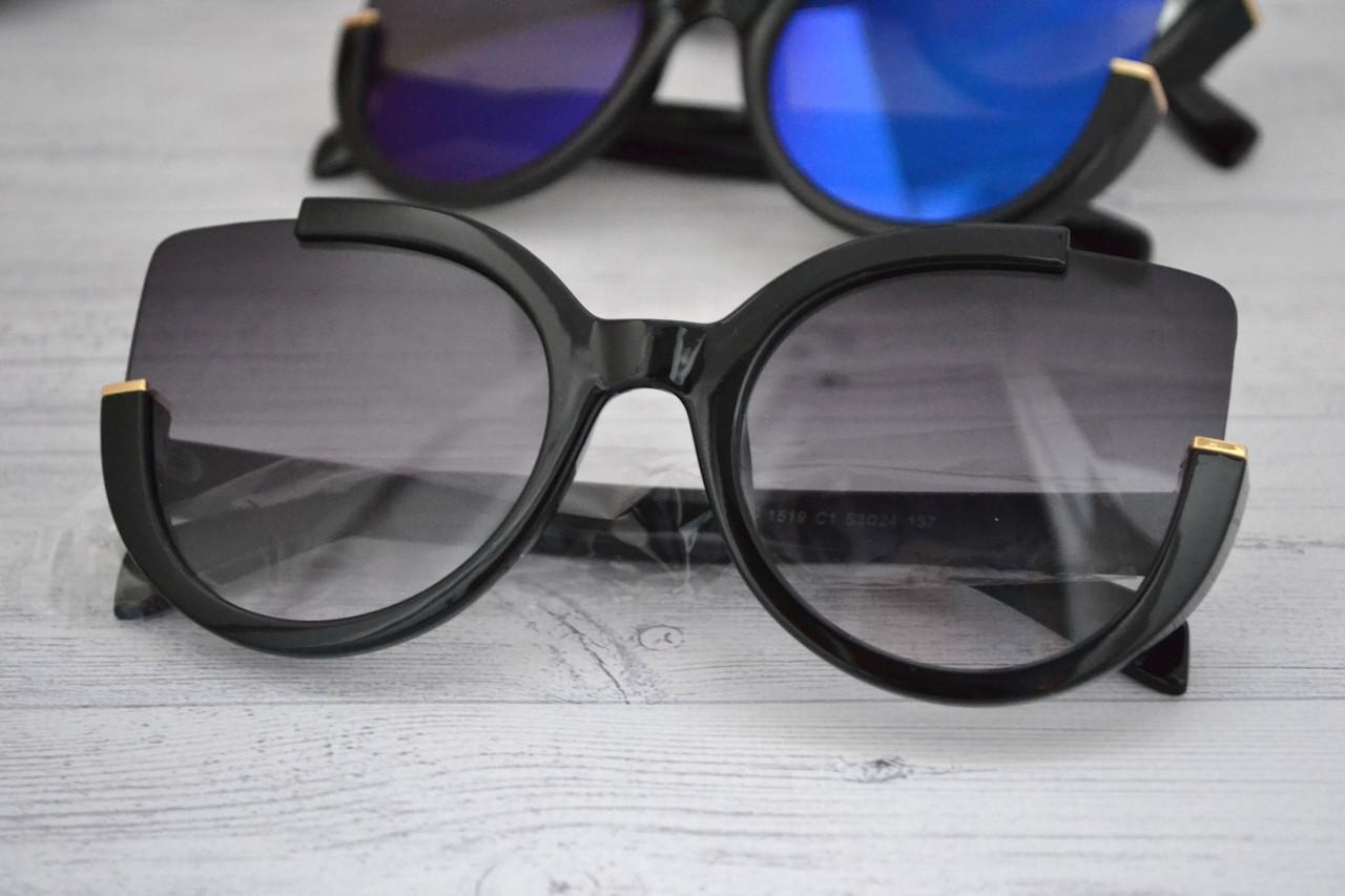 Солнцезащитные очки кошка в широкой оправе Чёрный