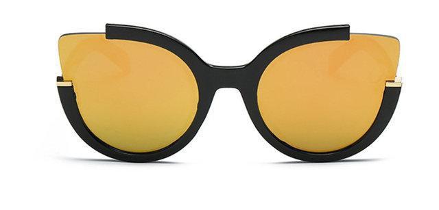 Солнцезащитные очки кошка в широкой оправе Чёрный+оранжевый