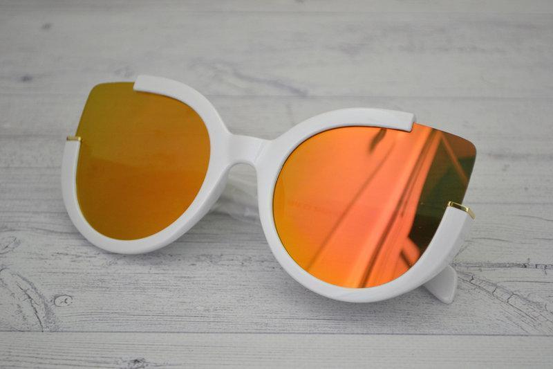 Солнцезащитные очки кошка в широкой оправе Белый+оранжевый