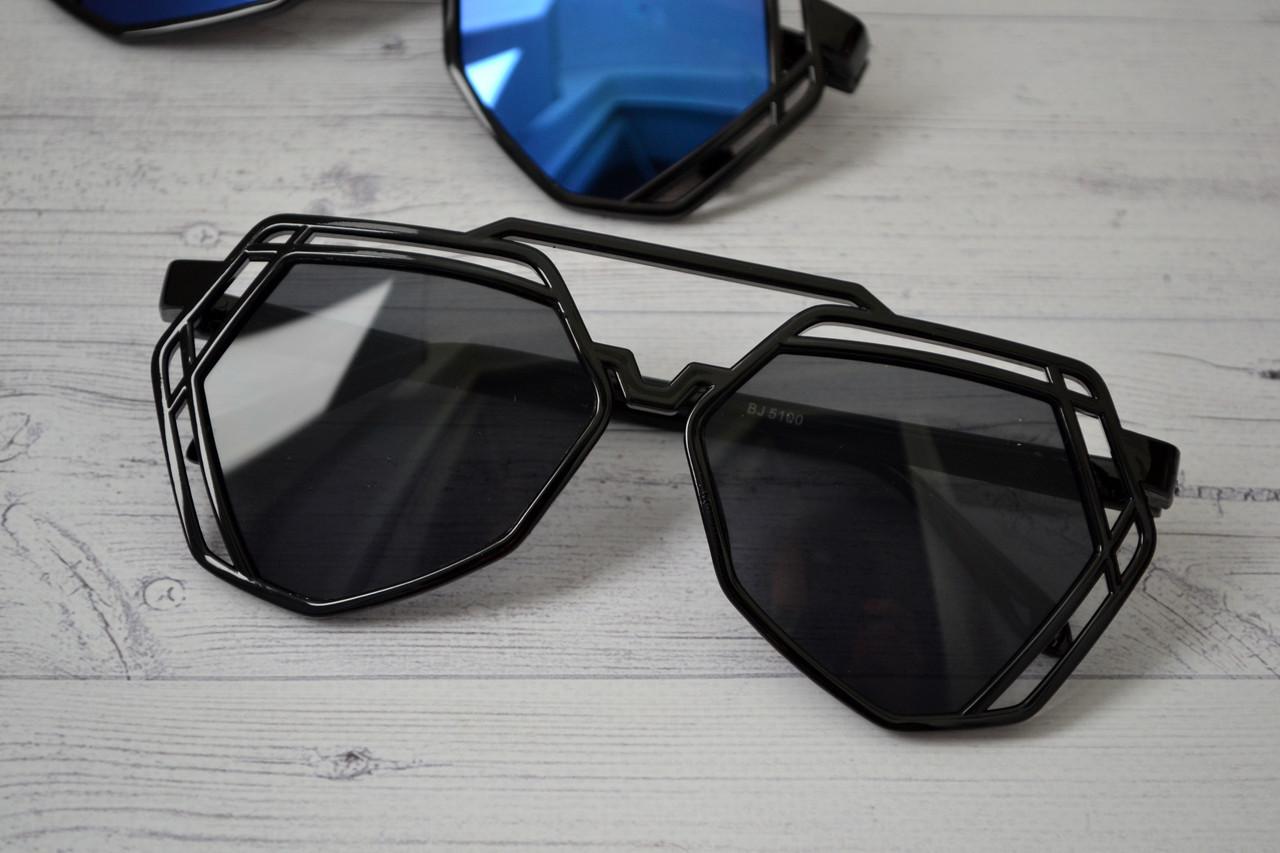Солнцезащитные  очки авиаторы капли унисекс ажурные Чёрный