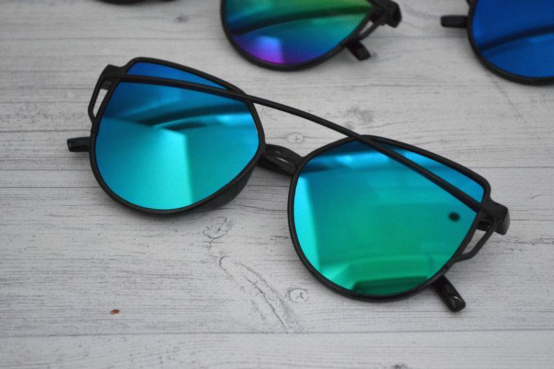 Солнцезащитные  очки копия Диор в пластиковой оправе Сине-зелёный