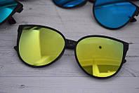 Солнцезащитные женские очки кошка крупные Жёлто-зелёный