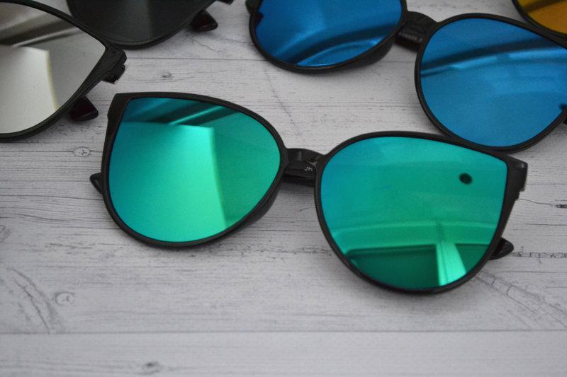 Солнцезащитные женские очки кошка крупные Зелёный