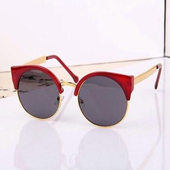 Солнцезащитные очки женские кошка круглые, Round cat 2 Терракот