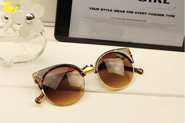 Солнцезащитные очки женские кошка круглые, Round cat 2 Леопар