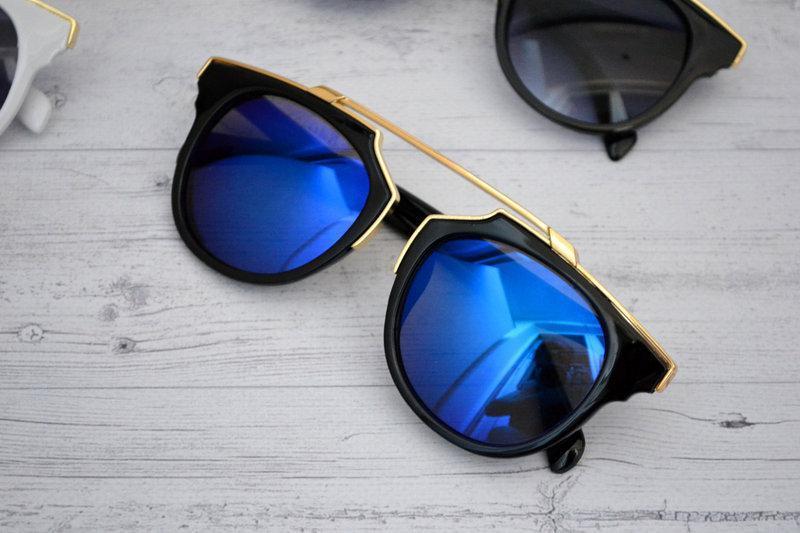 Солнцезащитные очки женские фигурные Чёрный+синий