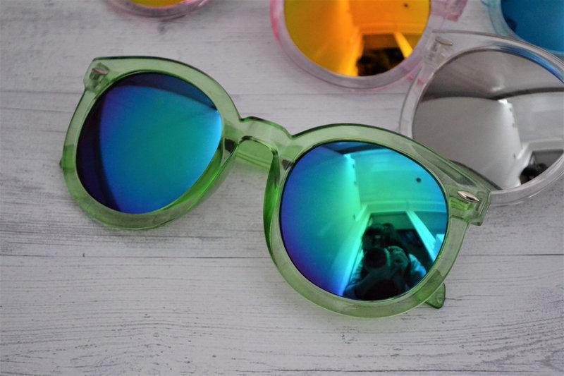 Очки солнцезащитные унисекс круглые прозрачная оправа Зеленый