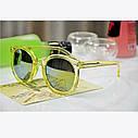 Очки солнцезащитные унисекс круглые прозрачная оправа Зеленый, фото 5