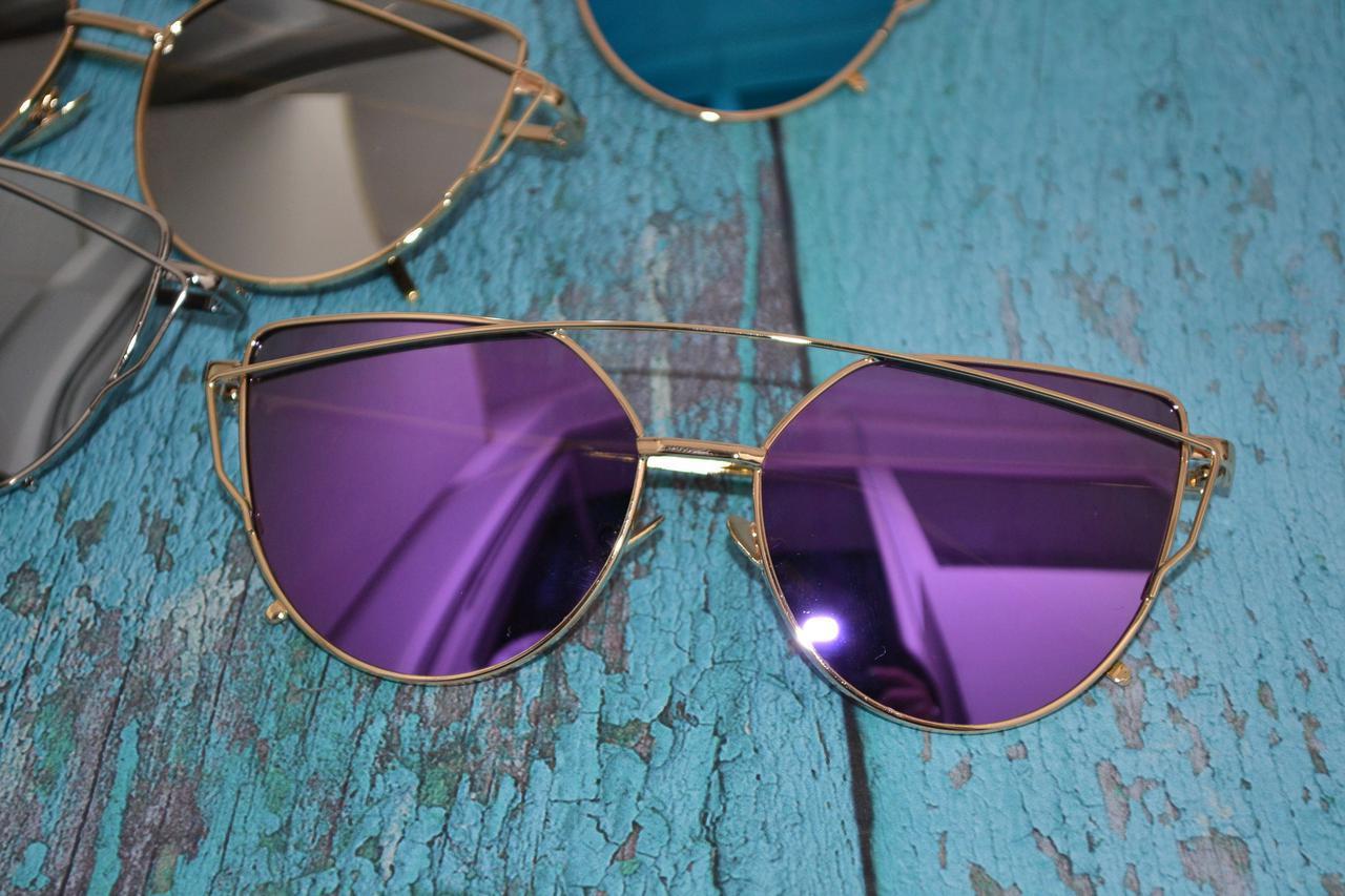 Солнцезащитные очки кошачий глаз зеркальные Диор Фиолетовый