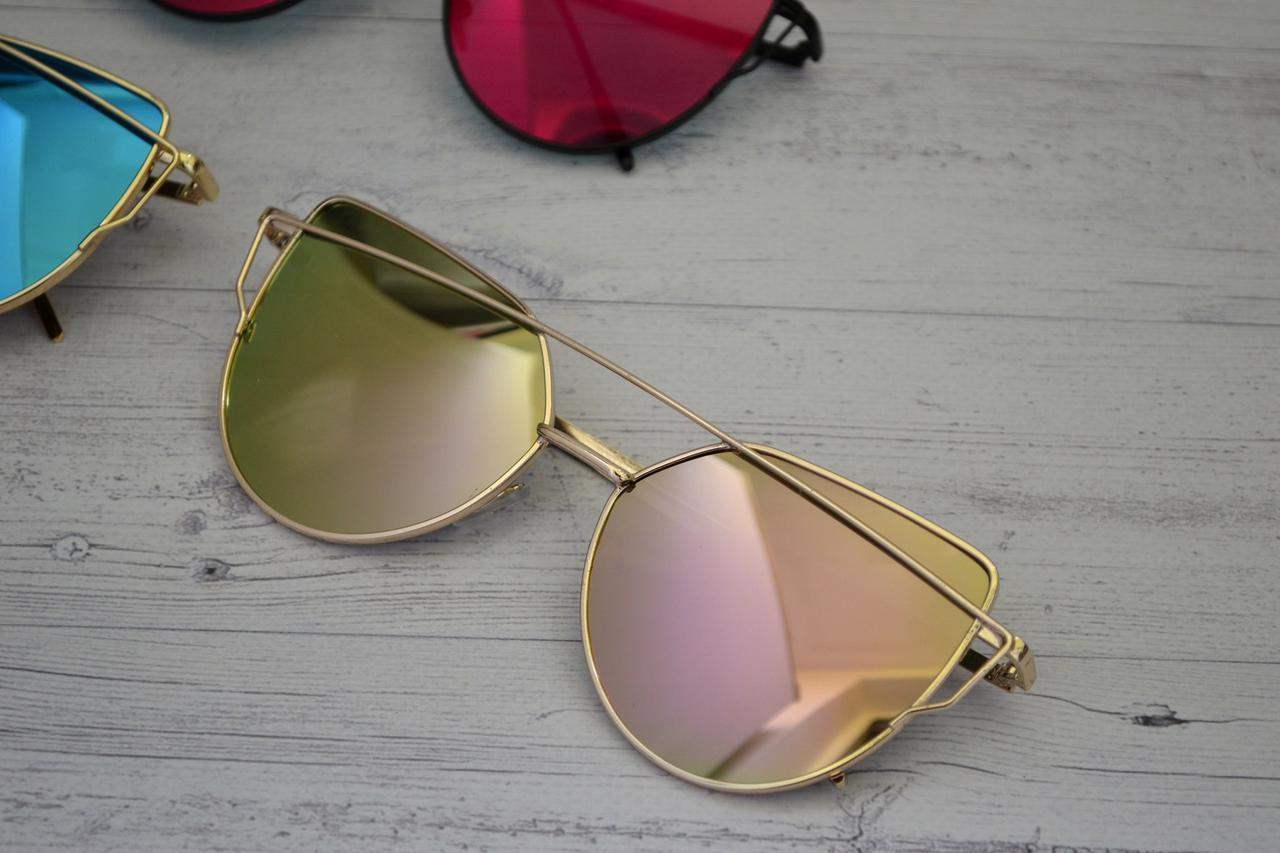 Солнцезащитные очки кошачий глаз зеркальные Диор Розовый+золото