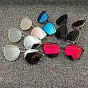 Солнцезащитные очки кошачий глаз зеркальные Диор Розовый+золото, фото 5
