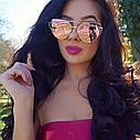 Солнцезащитные очки кошачий глаз зеркальные Диор Розовый+золото, фото 6