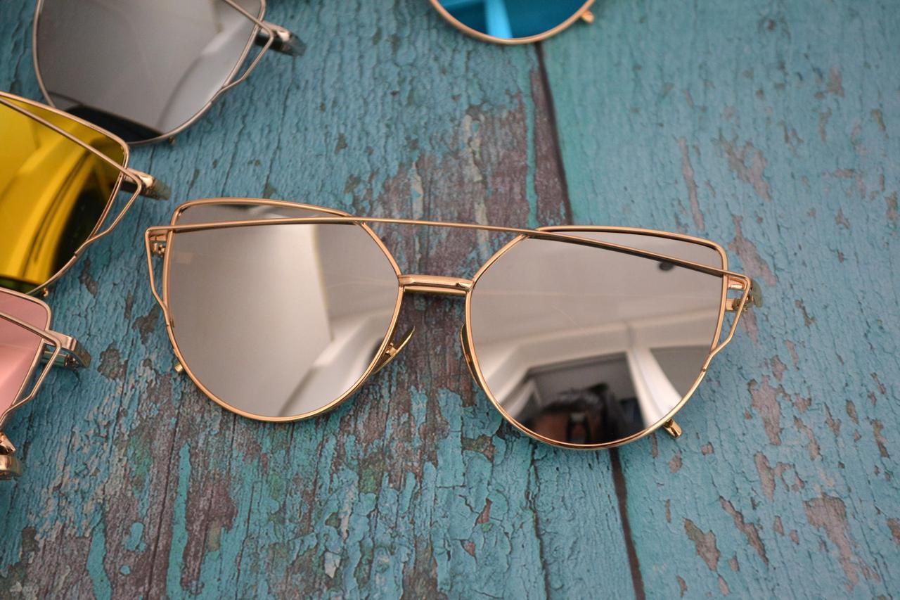 Солнцезащитные очки кошачий глаз зеркальные Диор Серебро+золото