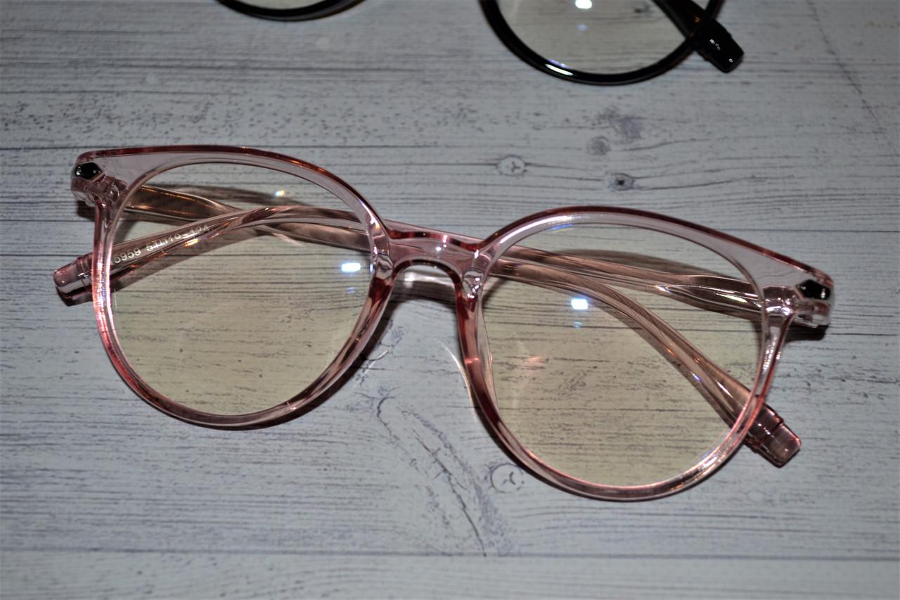 Имиджевые очки  круглые с  прозрачной линзой анти блик Розовый