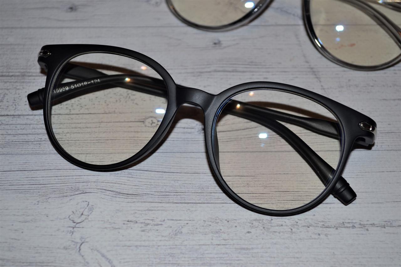 Имиджевые очки  круглые с  прозрачной линзой анти блик Чёрный матовый
