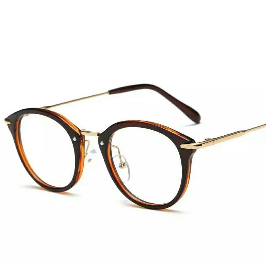 Очки с прозрачной линзой с тонкими металлическими дужками Коричневый