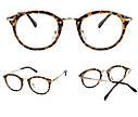 Очки с прозрачной линзой с тонкими металлическими дужками Коричневый, фото 3