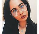 Очки с прозрачной линзой с тонкими металлическими дужками Коричневый, фото 4